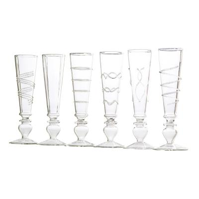 Footed Razzle Dazzle Flutes with Clear Accents (Set of 6)