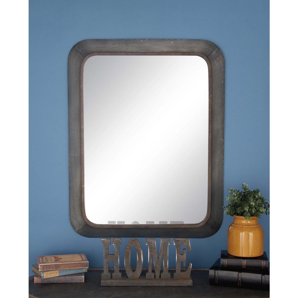 Litton Lane 36 in. x 29 in. Rustic Gray Metal Framed Mirror-98140 ...