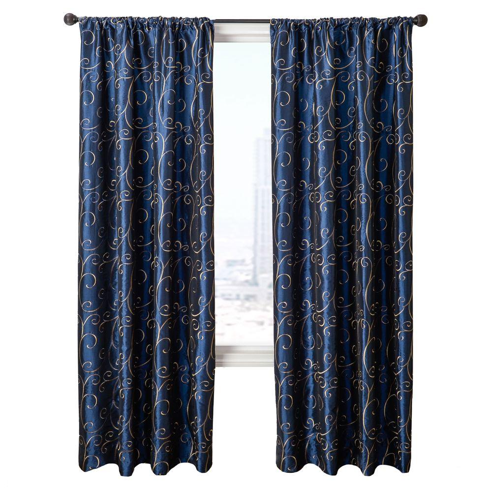 Home Decorators Collection Sheer Navy Chateau Rod Pocket Curtain - 54 in.W x 84 in. L