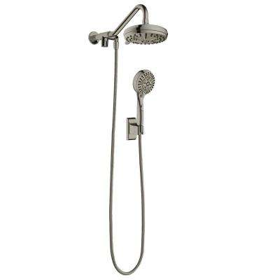 6-spray 7 in. Dual Shower Head and Handheld Shower Head with Low Flow in Brushed-Nickel