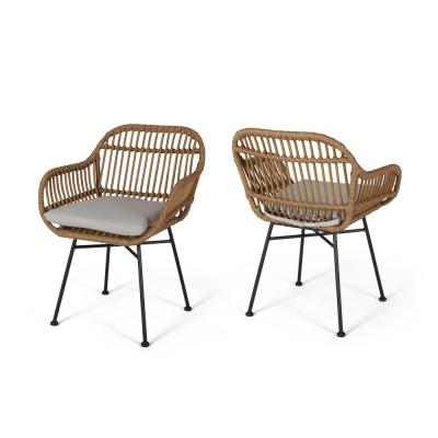Henning Light Brown Faux Rattan Side Chairs with Beige Cushions (Set of 2)