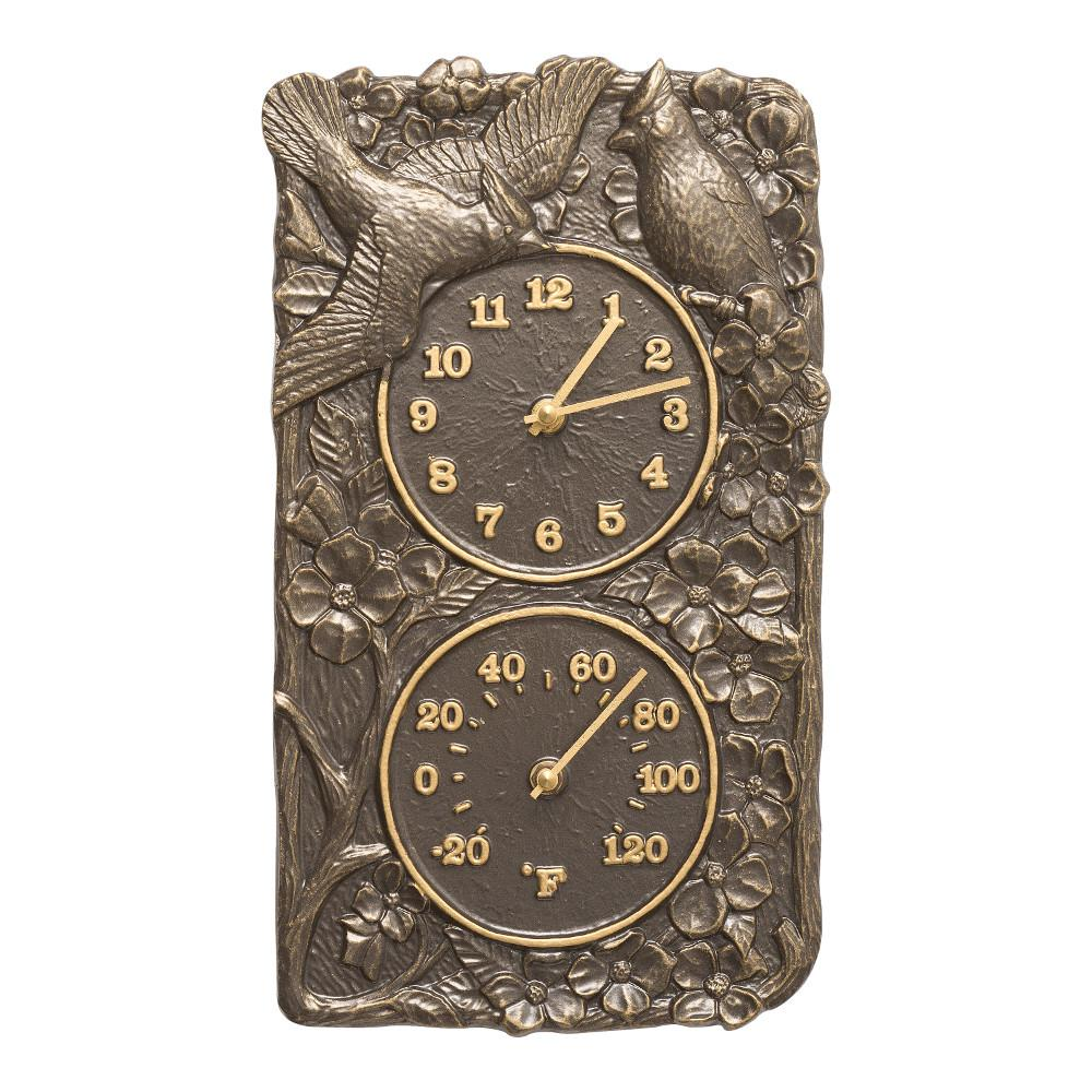 Whitehall Products Cardinal Indoor Outdoor Wall Clock And Thermometer