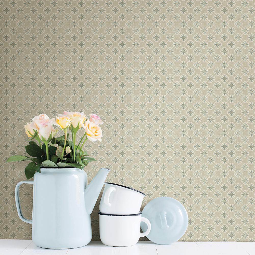 Chesapeake Crosby Beige Floral Wallpaper Sample 3112 002742sam
