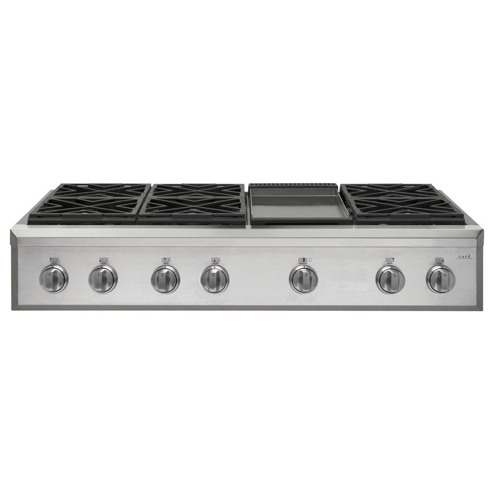 Cafe 48 in. Gas Cooktop in Stainless Steel with 6 Burners including Griddle Burners