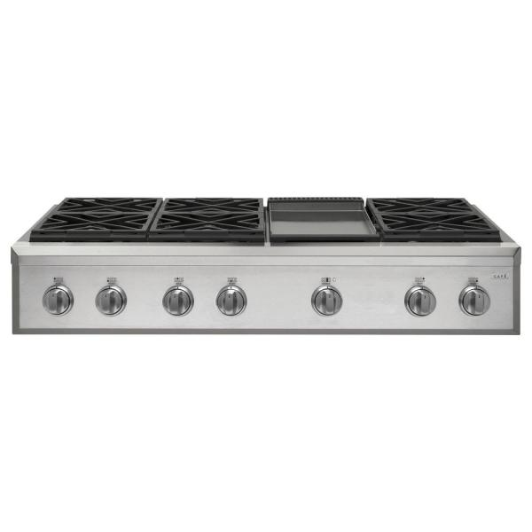 48 in. Gas Cooktop in Stainless Steel with 6 Burners including Griddle Burners