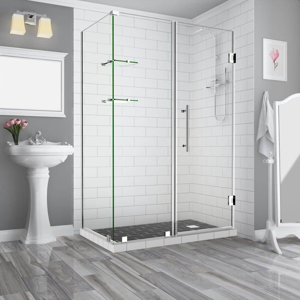 Aston BromleyGS 57.25 in.to58.25 in. x 30.375 in. x 72 in. Frameless Corner Hinged Shower Enclosure w/ Glass Shelves in Chrome