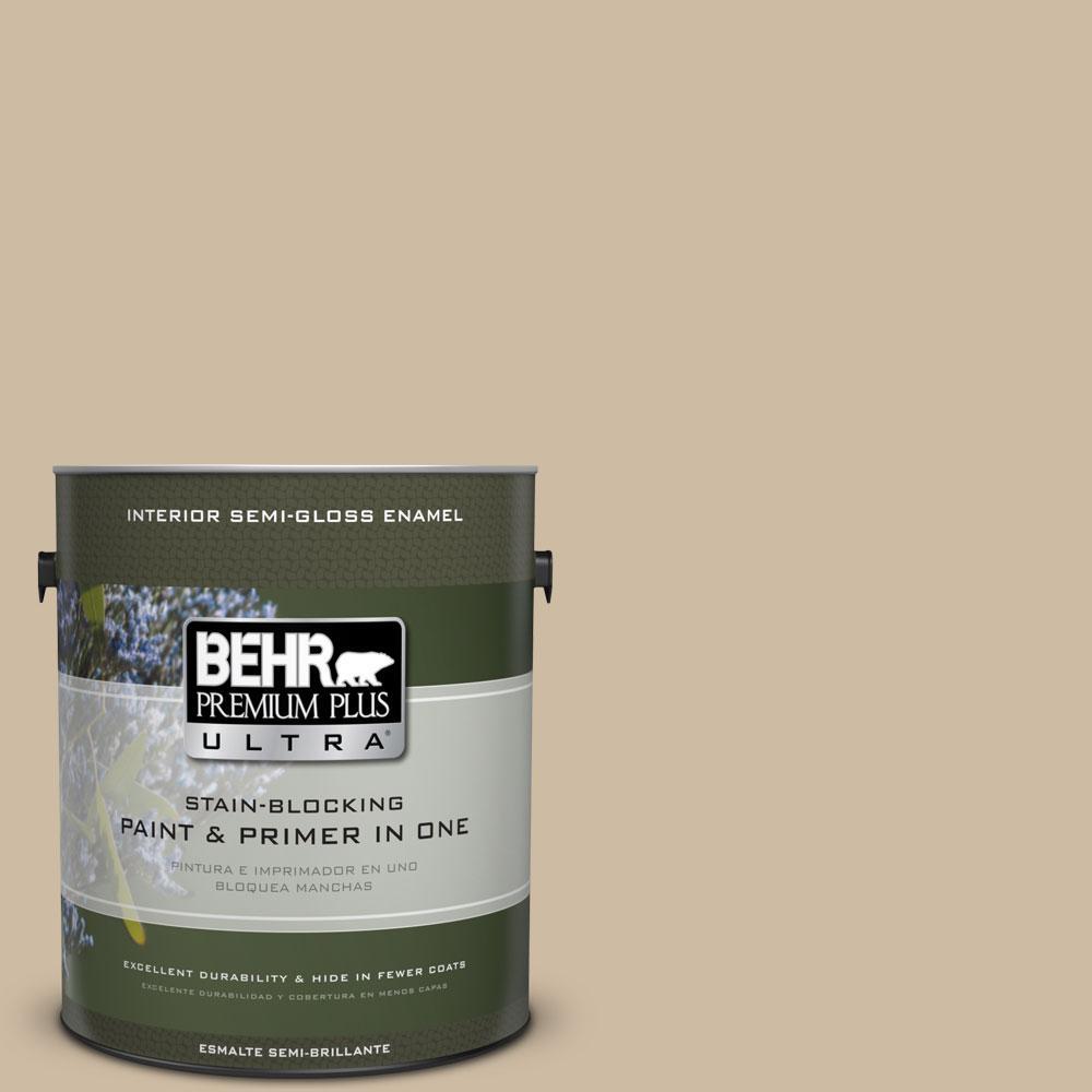 BEHR Premium Plus Ultra 1-gal. #710C-3 Gobi Desert Semi-Gloss Enamel Interior Paint