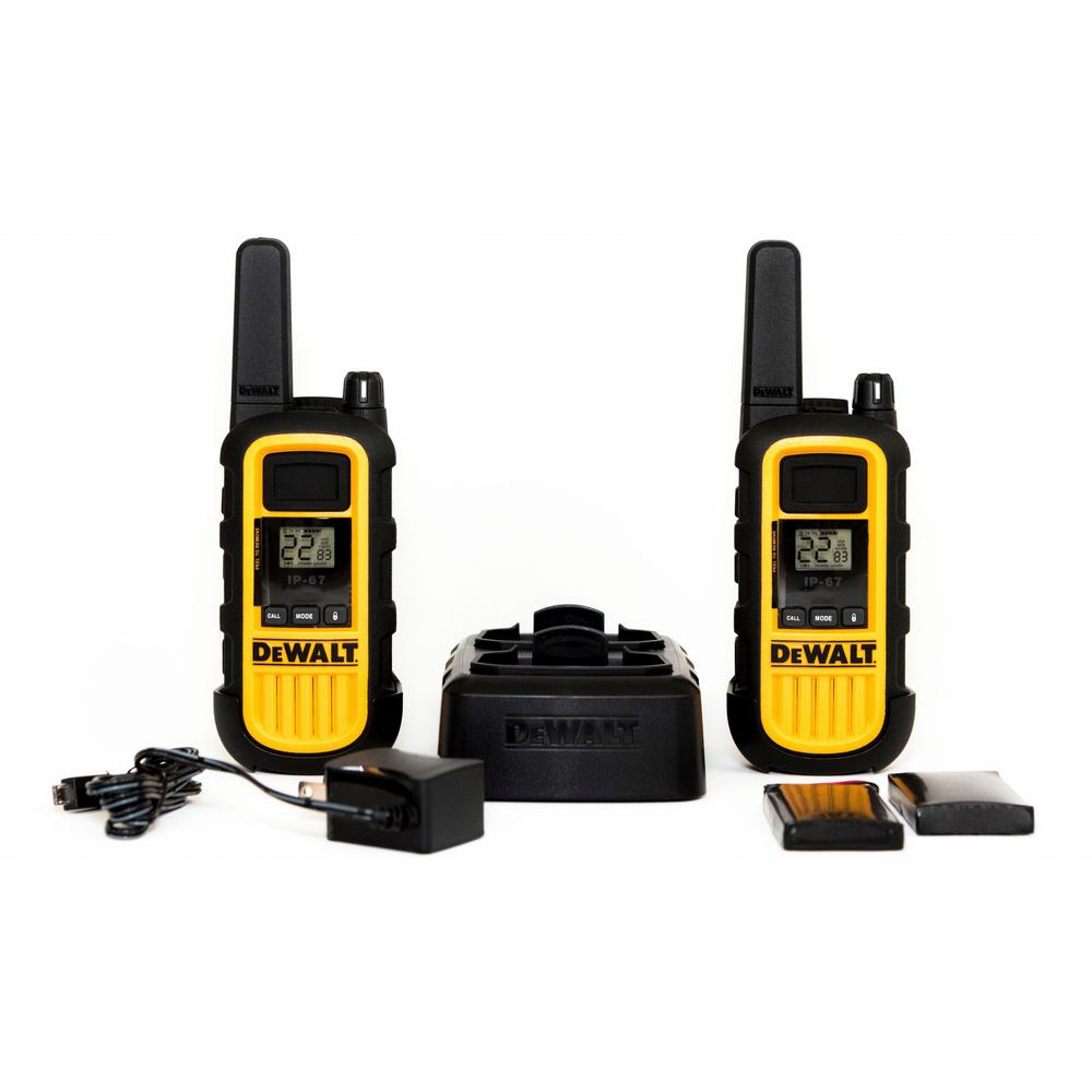 FRS 2-Way 2-Watt Radio Set (2-Pack) DEWALT DXFRS800 walkie-talkies (set of 2) are built on the FRS platform. Heavy duty 2-Watt radios are ideal for construction jobsites, and on-site business applications such as hotel front desk, retail, restaurtants and grocery. FRS Business Series radios are smart, simple, reliable, high-performance and tough! Covered by a limited lifetime warranty.