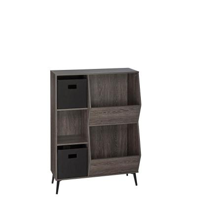 Woodbury Collection Storage Cabinet with Cubbies, Veggie Bins, and 2-Piece Black Folding Bins