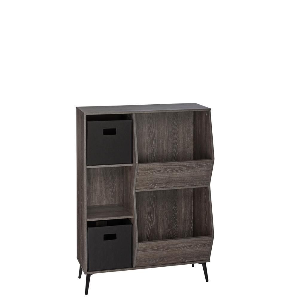RiverRidge Home Woodbury Collection Storage Cabinet with Cubbies, Veggie Bins, and 2-Piece Black Folding Bins