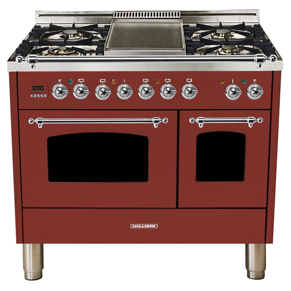 40 in. 4.0 cu. ft. Double Oven Dual Fuel Italian Range True Convection,5 Burners, LP Gas, Chrome Trim in Burgundy