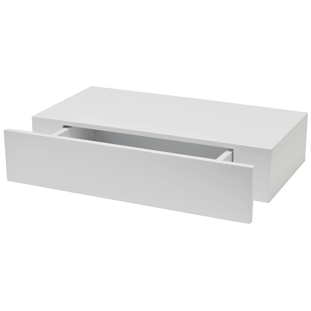 Wallscapes Shelf with Drawer 19 in. x 9.875 in. Floating White Modern  Decorative Shelf