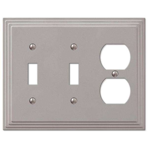 Tiered 3 Gang 2-Toggle and 1-Duplex Metal Wall Plate - Satin Nickel