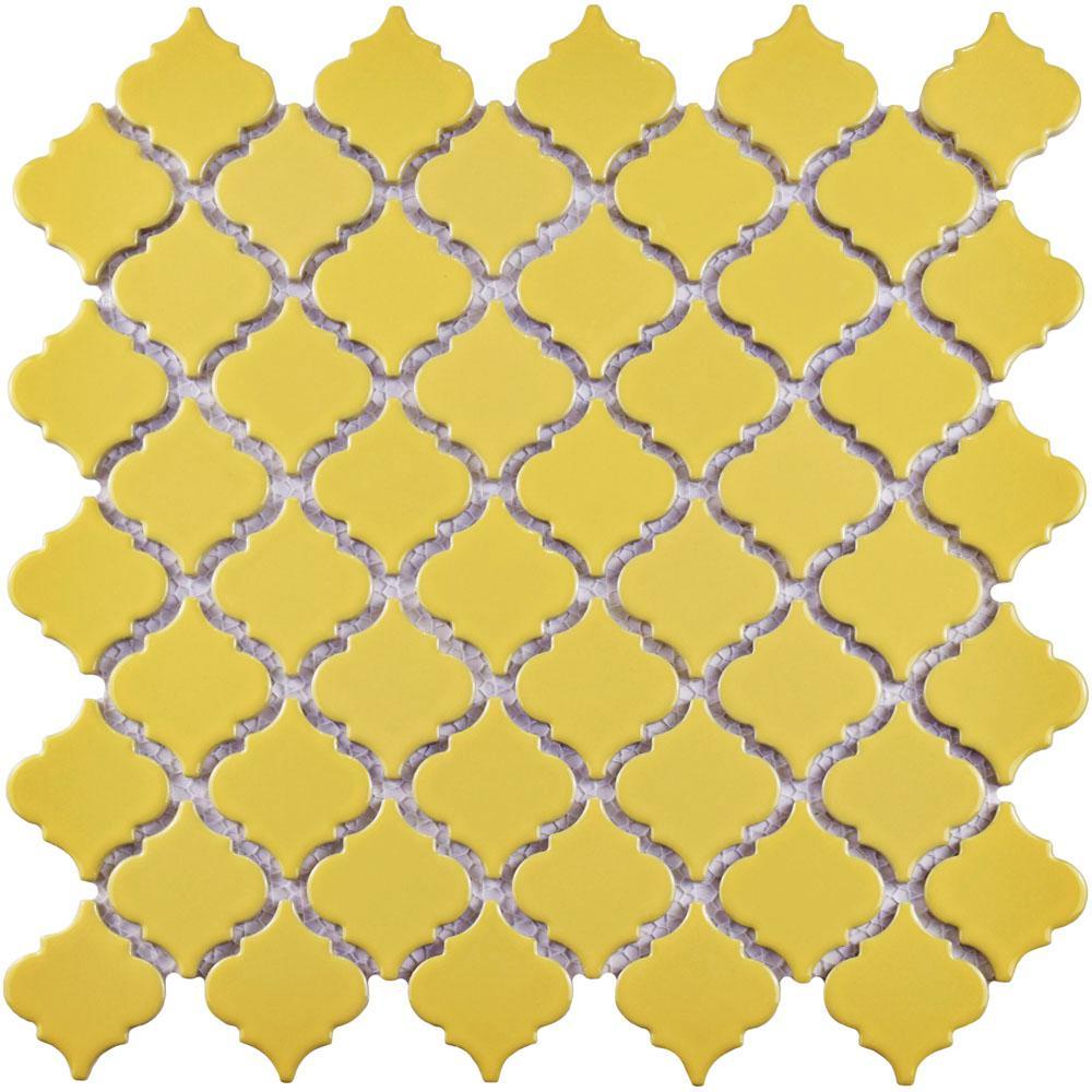 Merola Tile Hudson Tangier Vintage Yellow 12-3/8 in. x 12-1/2 in. x ...
