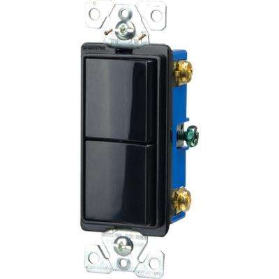 Commercial Grade 15 Amp Combination Decorator 2 Single Pole Switches with Back and Side Wiring, Black