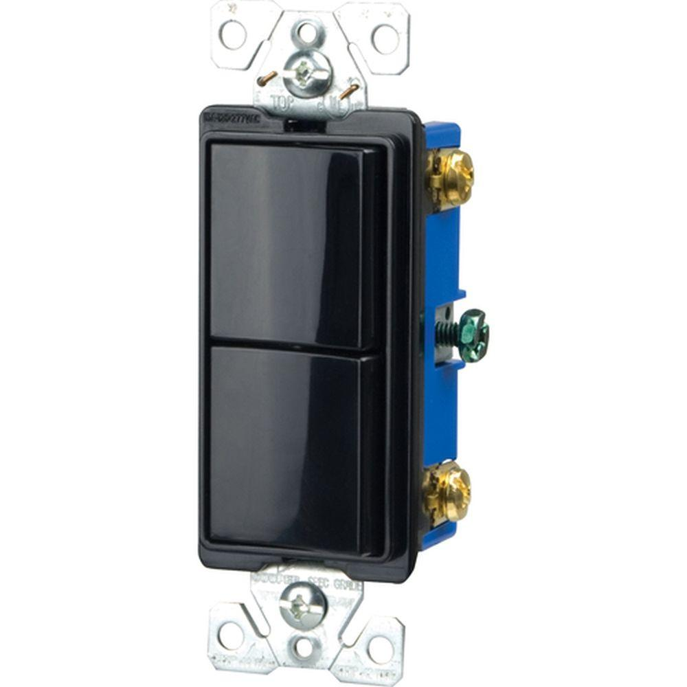 Eaton Commercial Grade 15 Amp Combination Decorator 2 Single Pole Switches with Back and Side Wiring, Black