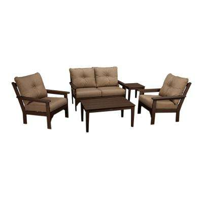 Vineyard Mahogany 5-Piece Plastic Patio Deep Seating Set with Sunbrella Sesame Cushions
