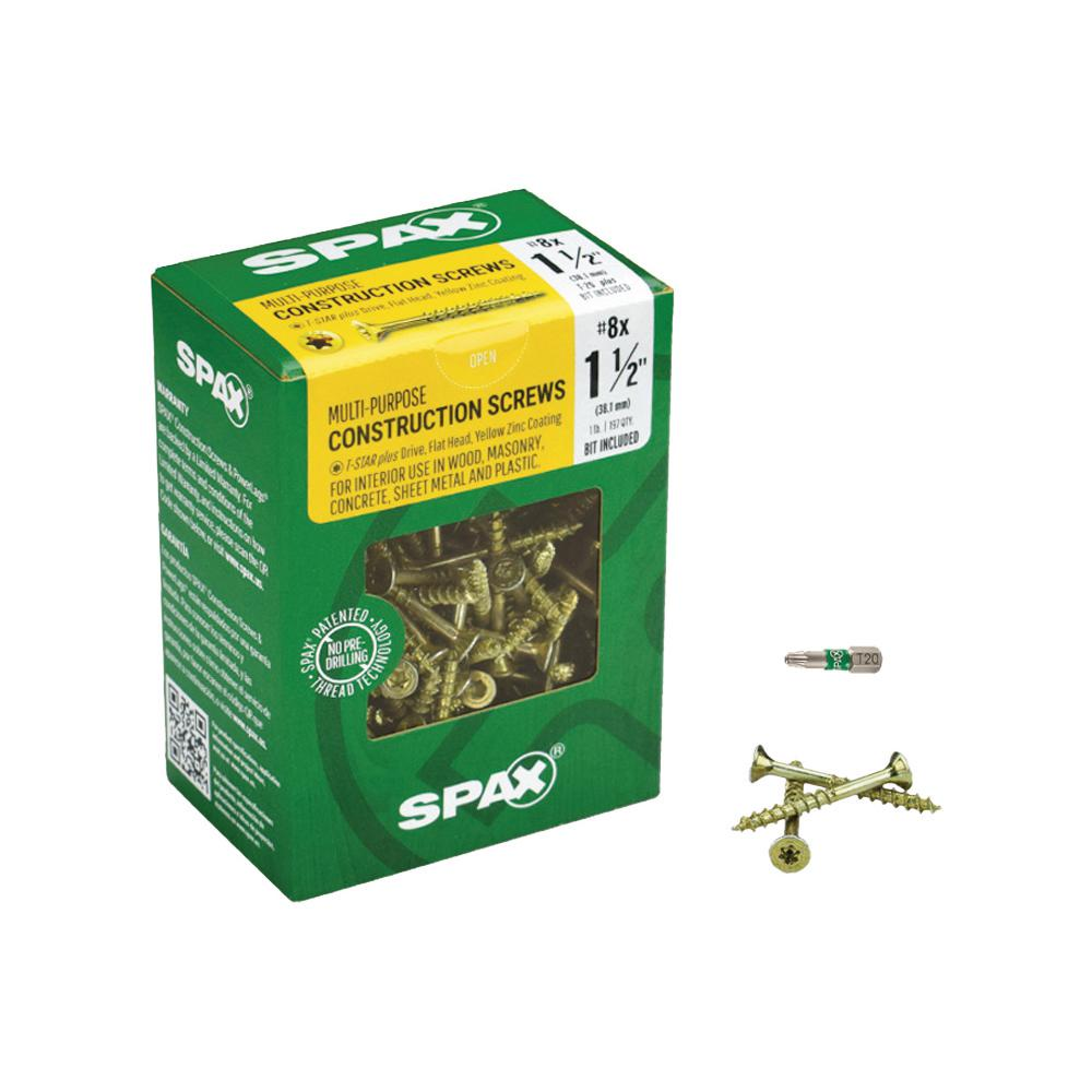 SPAX #8 x 1-1/2 in. T-Star Drive Flat-Head Partial Thread Yellow Zinc Coated Multi-Material Screw (197 per Box)