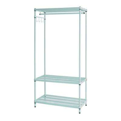 MeshWorks 3-Shelf Metal Sage Green Freestanding Clothing Unit