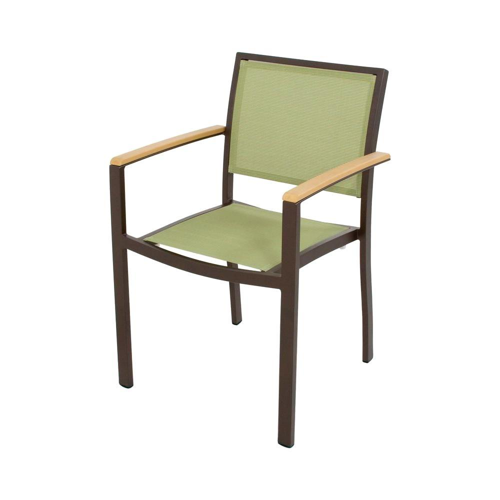 Bayline Textured Bronze/Plastique/Kiwi Sling Patio Dining Arm Chair