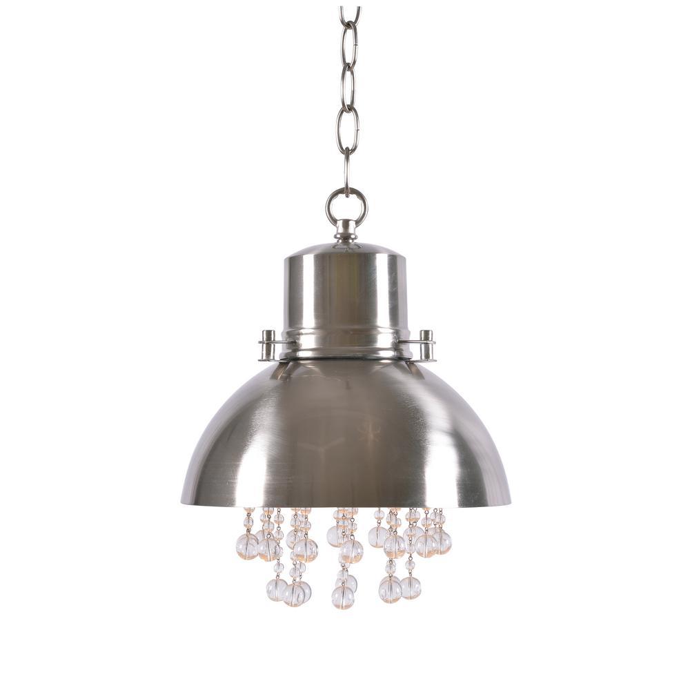 Nicole 1-Light Brushed Steel Pendant