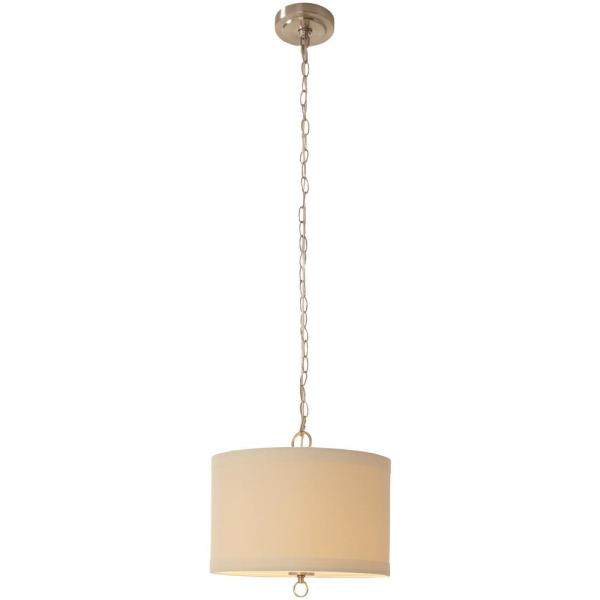 Hampton Bay 1 Light Brushed Nickel Linen Drum Pendant With Hardwire Or Plug In Kit 19711 000 The Home Depot