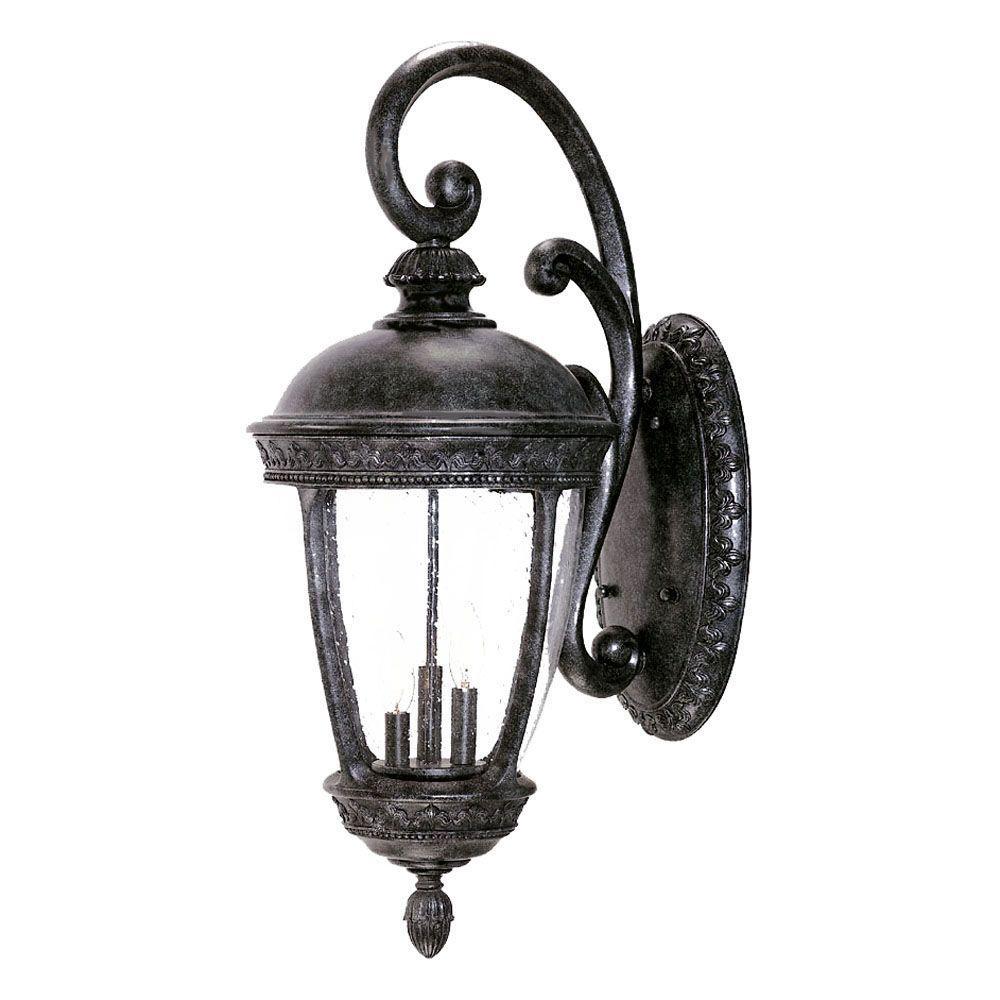 Acclaim Lighting Fleur de Lis Collection Wall-Mount 3-Light Outdoor Stone Light Fixture