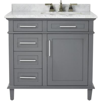 Sonoma 36 in. W x 22 in. D Bath Vanity in Dark Charcoal with Carrara Marble Top with White Sinks