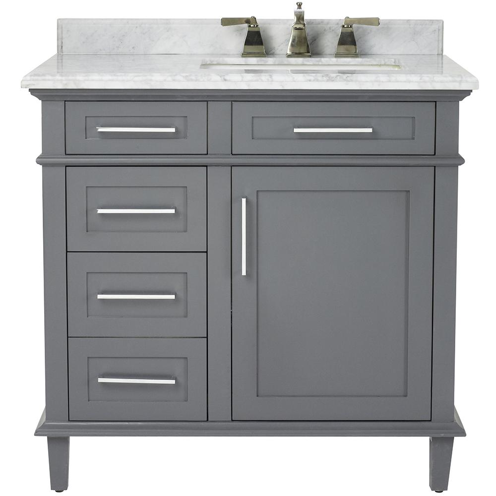 Home decorators collection sonoma 36 in w x 22 in d bath vanity in dark charcoal with natural - Home decor bathroom vanities ...