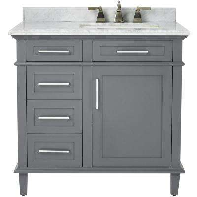 Sonoma 36 in. W x 22 in. D Bath Vanity in Dark Charcoal with Carrara Marble Top with White Basins