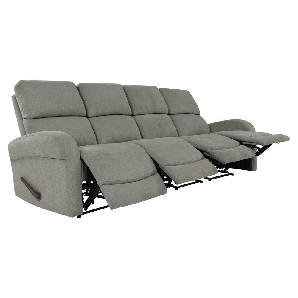 Warm Gray Chenille 4-Seat Recliner Sofa
