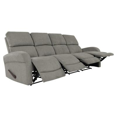 ProLounger 103.2 in. Warm Gray Polyester 4-Seater Lawson Reclining Sofa with Square Arms