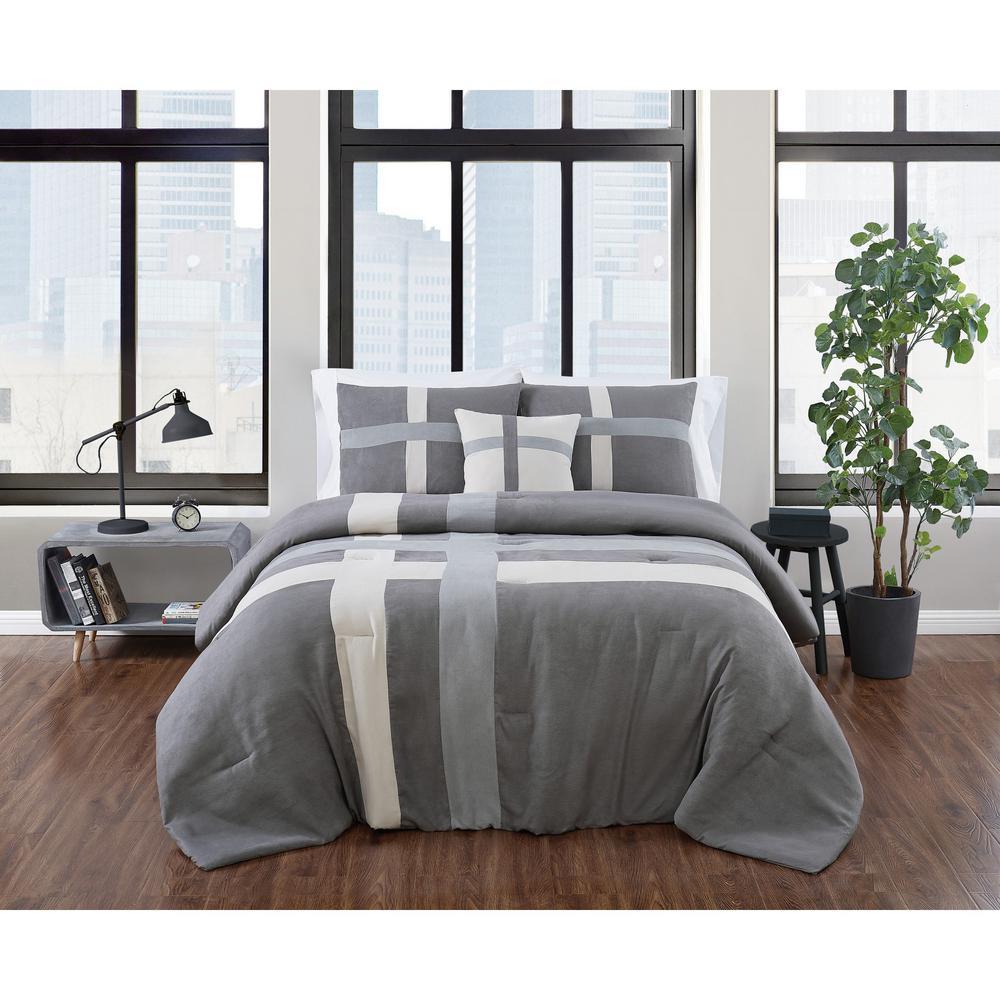 Dartford 4-Piece Microsuede Multi Polyester King Comforter Set