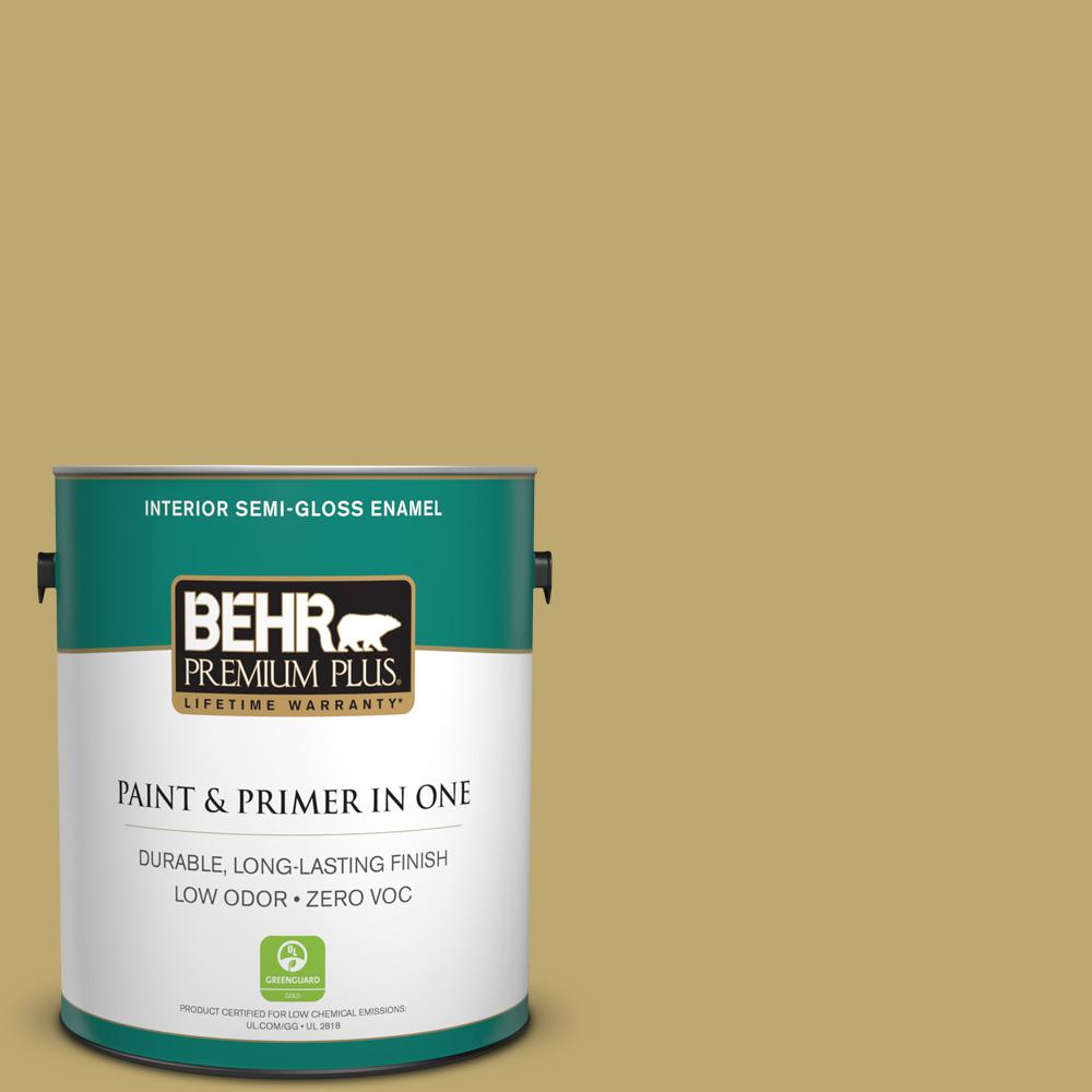 1-gal. #370F-5 Coriander Seed Zero VOC Semi-Gloss Enamel Interior Paint