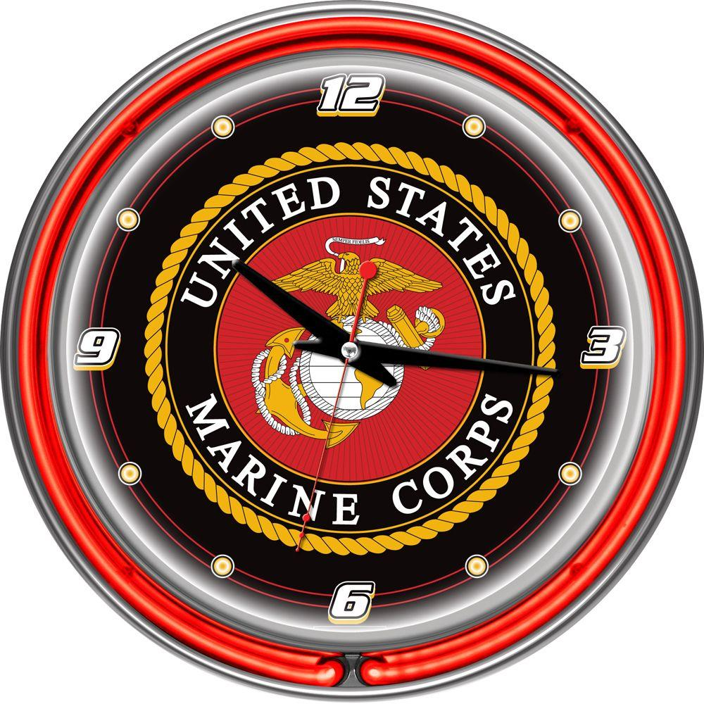14 in. United States Marine Corps Chrome Double Ring Neon Wall