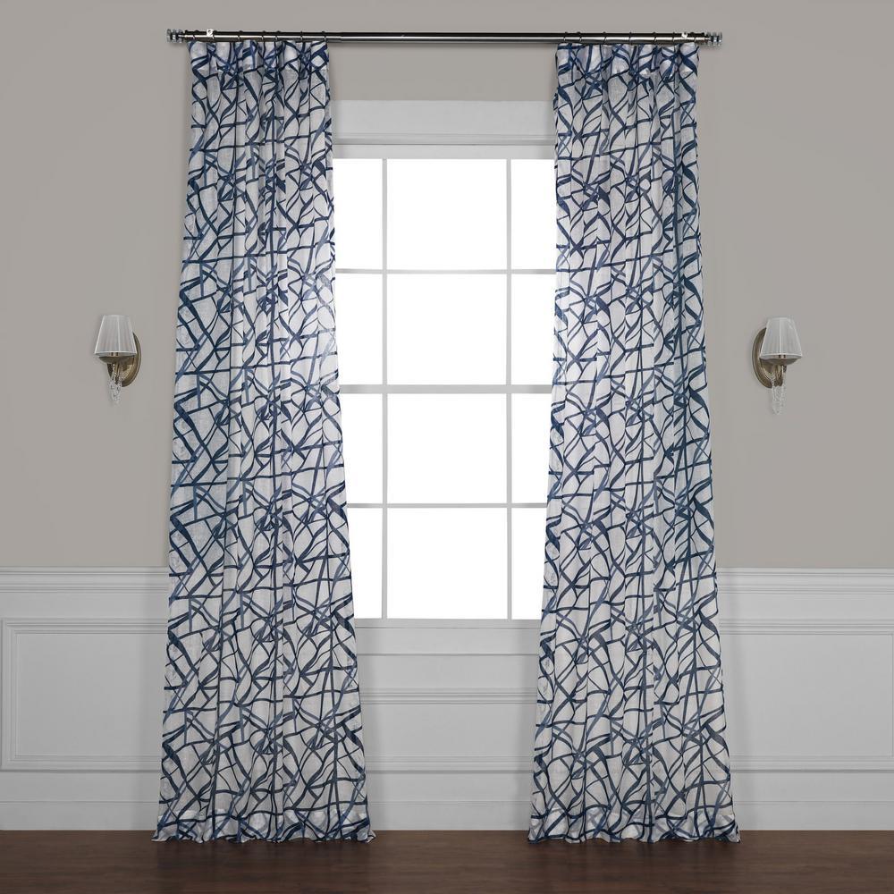 Matrix Blue Printed Sheer Curtain - 50 in. W x 108 in. L