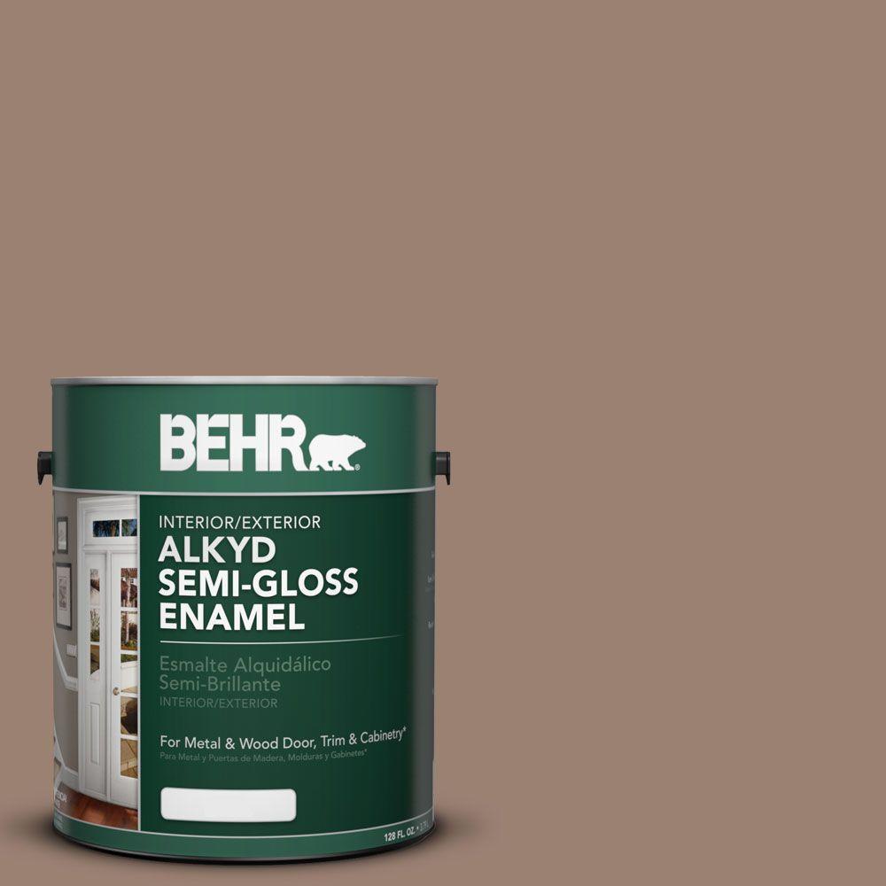 behr 1 gal ae 4 pecan brown semi gloss enamel alkyd interior