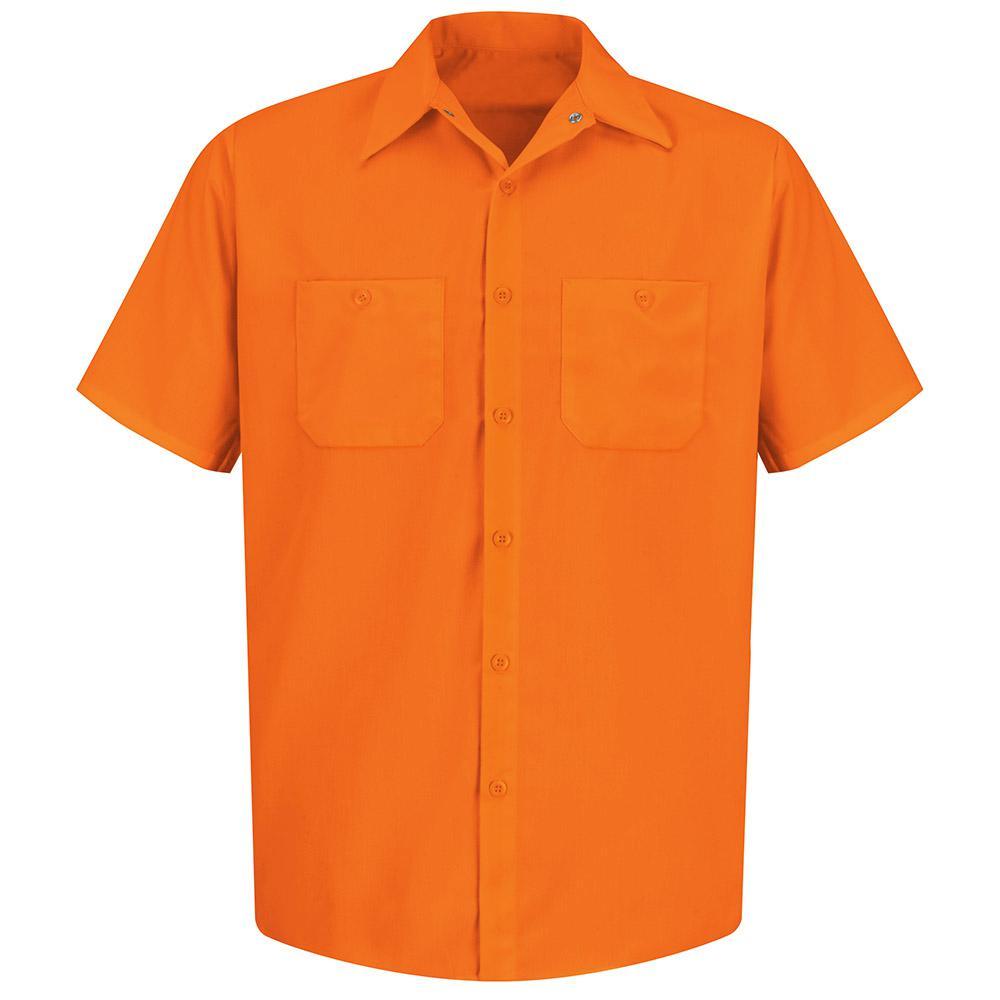 Men's Size L (Tall) Fluorescent Orange Enhanced Visibility Work Shirt