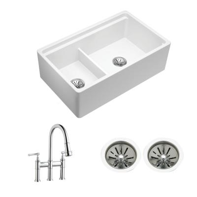 Farmhouse/Apron-Front Fireclay 33 in. Double Bowl Kitchen Sink with Aqua Divide, Faucet, Cutting Board and Drain