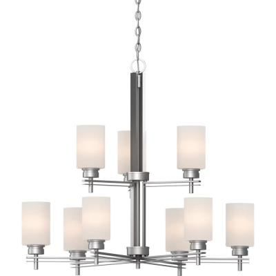 Carena 9-Light Indoor Nickel Hanging Chandelier with Etched White Cased Glass Cylinder Shades