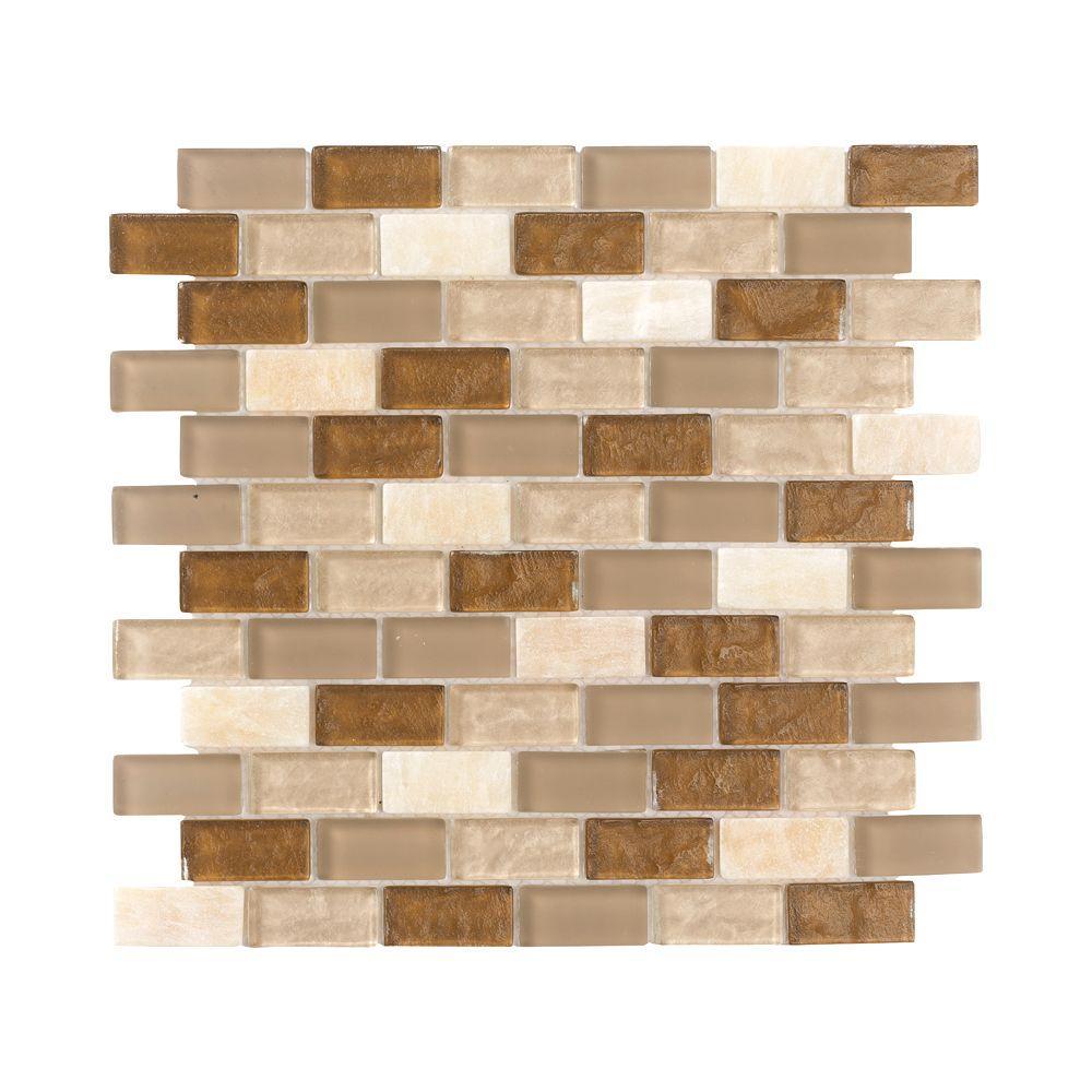 Honey Onyx Brick 11.75 in. x 11.75 in. x 8 mm Glass Onyx Mosaic Wall Tile