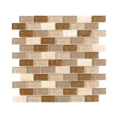 Honey Onyx Brick Beige 11.75 in. x 11.75 in. x 8 mm Interlocking Textured Glass Onyx Mosaic Tile