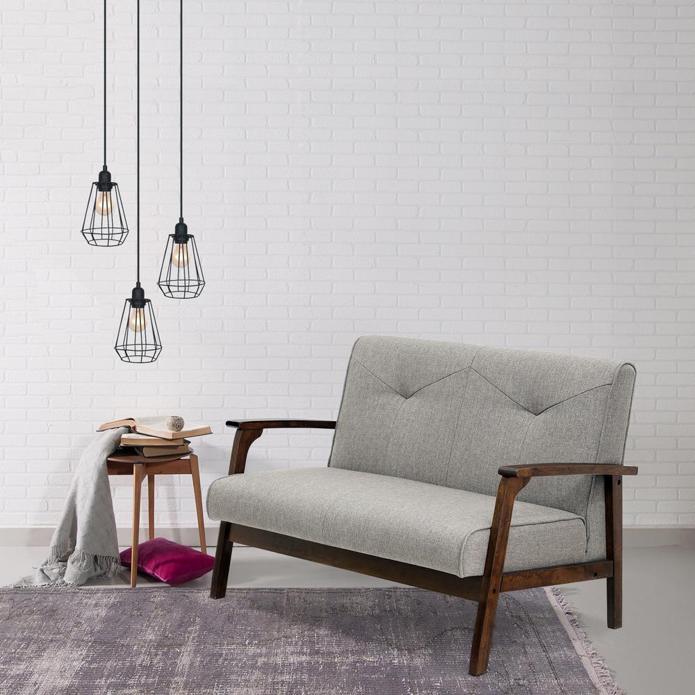 Gray Linen Mid Century Modern Sofas Loveseats Living Room