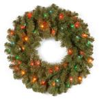 24 in. Kincaid Spruce Artificial Christmas Wreath with Multicolor Lights