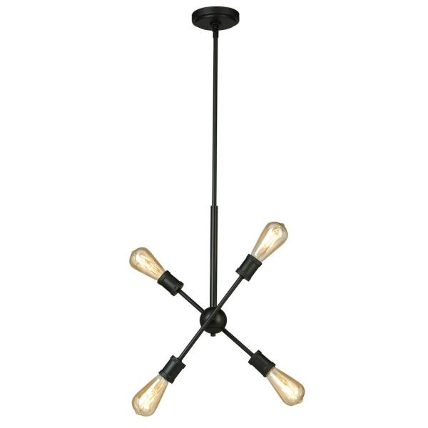 Etris Row 4-Light Black Pendant with Adjustable Arms