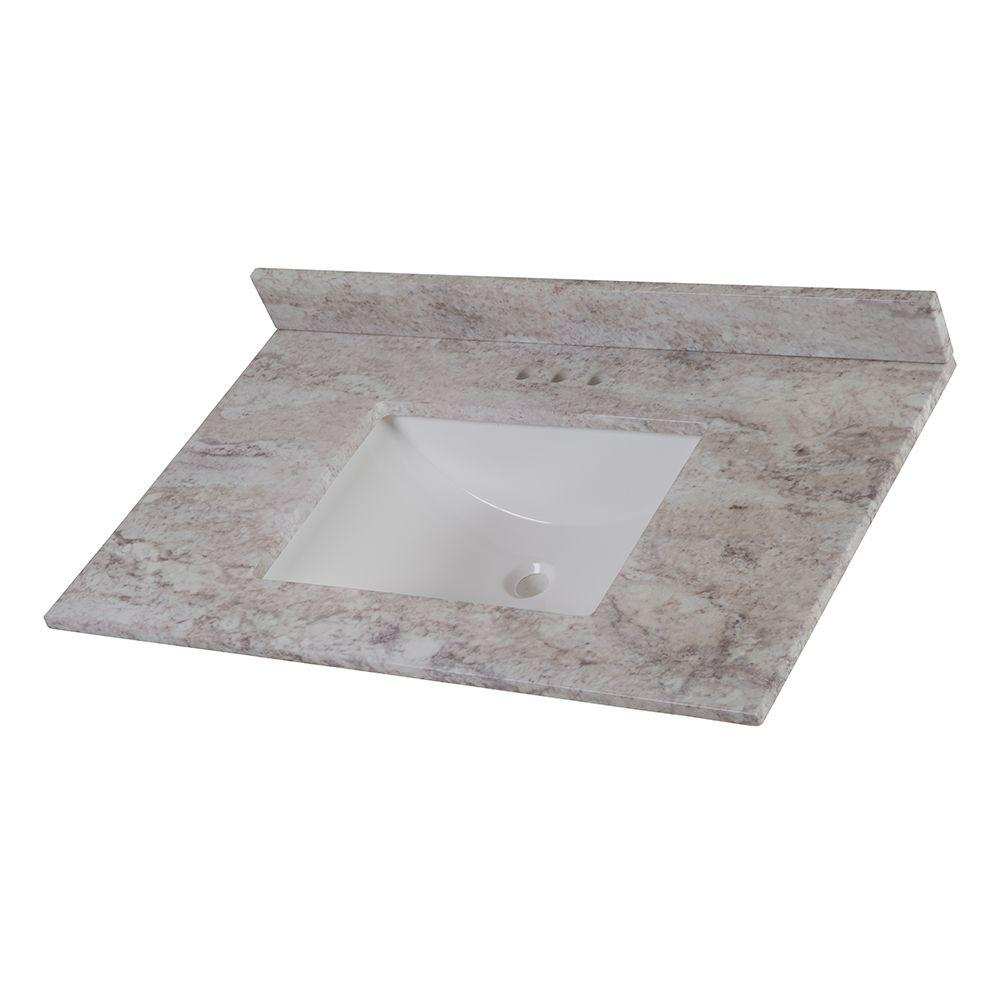 W Stone Effects Vanity Top in Winter Mist Tops  Bathroom Vanities The Home Depot
