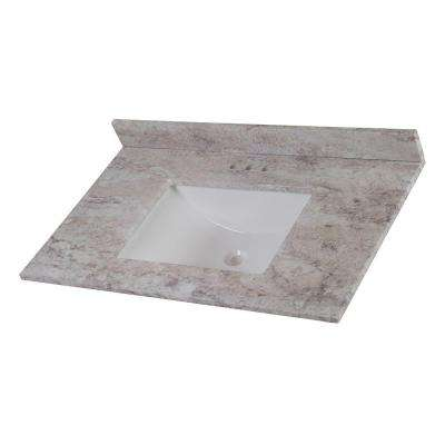 37 in. W Stone Effects Vanity Top in Winter Mist