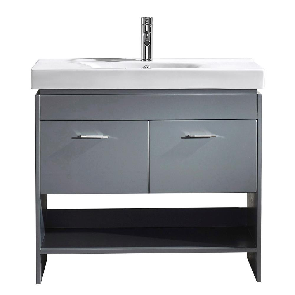 Virtu USA Gloria 36 in. W Bath Vanity in Gray with Ceramic Vanity Top in White Ceramic with Square Basin and Faucet