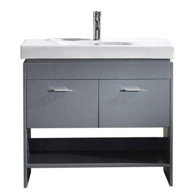 Gloria 36 in. W Bath Vanity in Gray with Ceramic Vanity Top in White Ceramic with Square Basin and Faucet