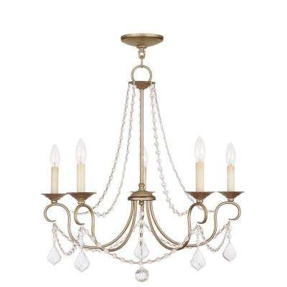 Providence 5-Light Antique Silver Leaf Incandescent Ceiling Chandelier